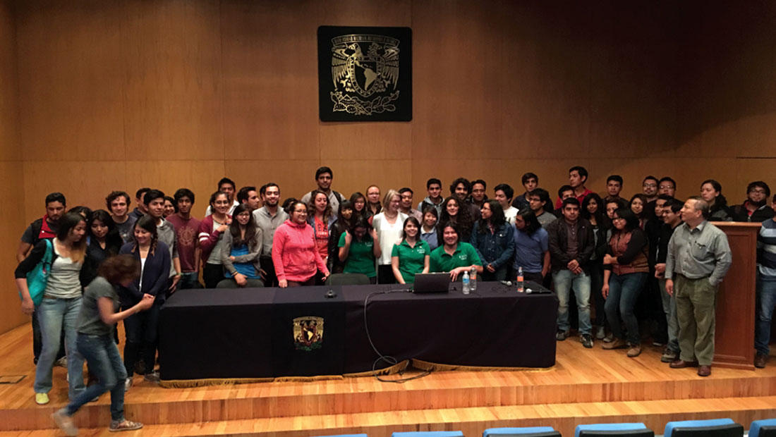 Some of the audience join me onstage at UNAM in Mexico City