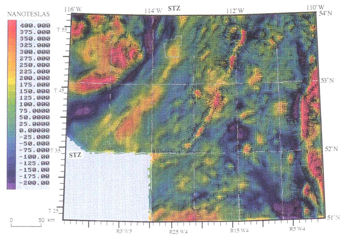 Regional interpretation of steep faults in the Alberta Basin from