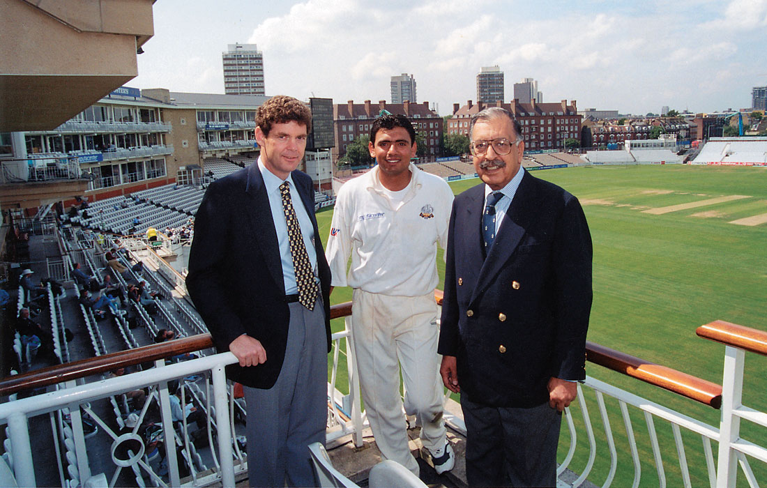 Saqlain Mushtag of Pakistan and Surrey at the Oval cricket ground in London with his Excellency Mr. Mian Riaz Samee, High Commissioner of Pakistan and Dave Paterson